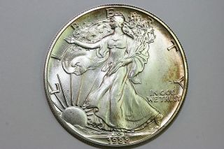 Gold Toned 1988 American Silver Eagle Silver Bullion US Coin   Mint