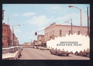 1960s CARS EAGLE PASS TEXAS DOWNTOWN STREET SCENE VINTAGE POSTCARD