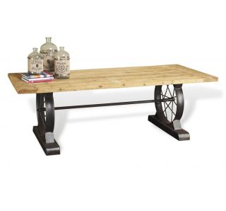 Drexler Rustic Reclaimed Wood Wheel Dining Table