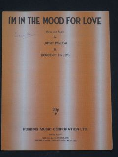 IN THE MOOD FOR LOVE sheet music JIMMY McHUGH & DOROTHY FIELDS