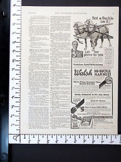 1926 WALSH Leather NO BUCKLE Horse Harness magazine Ad farm wagon