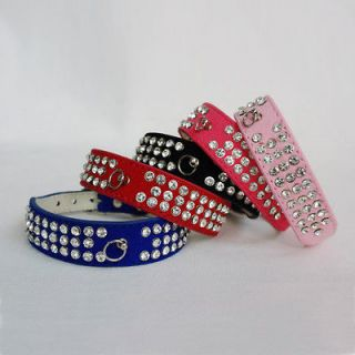 18.5 New Leather 3 Rows Rhinestone Bling Pet Dog Collar XS S M L