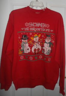Ugly tacky Christmas sweater sweatshirt snowmen front dog back L NWOT