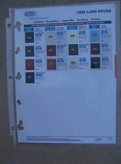 Rover Auto Exterior Color Paint Chip Sample Chart DuPont ChromaBase J