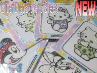 5Sheets Glitter Neno Sticker Decal Hello Kitty And Famous Mouse
