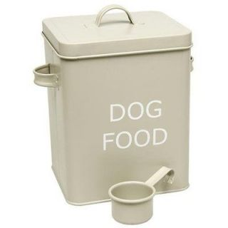 VINTAGE STYLE DOG FOOD TIN STORAGE BOX IN OLIVE FOR DRY FOOD, POUCHES