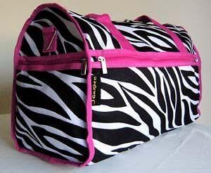 19 Duffel/Tote Gym Bag Luggage/Purse Travel Case Overnight Zebra Pink