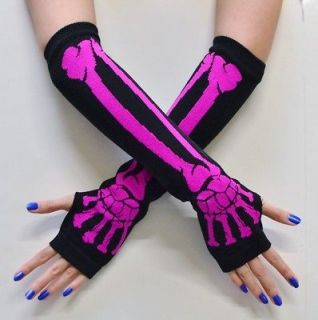 NEW NEON PINK BLACK SKELETON CUTOFF FINGERLESS LONG GLOVES WINTER WEAR