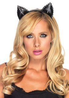 Womens Black Stitch Kitty Costume Ears Headband, Cat Woman Costume