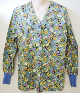 Butterfly Flowers White Cross Scrub Top Medium Long Sleeve Button
