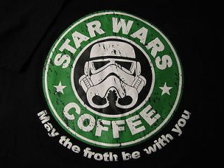STAR WARS / STARBUCKS T SHIRT. SIZE L. Black. May the froth be with