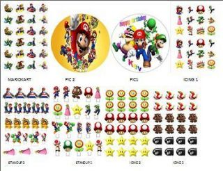 Edible Cake toppers Super Mario x 24 Icing or rice paper many others