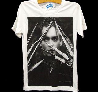 EDWARD SCISSORHANDS Johnny Depp Retro Movie Star T Shirt S/M
