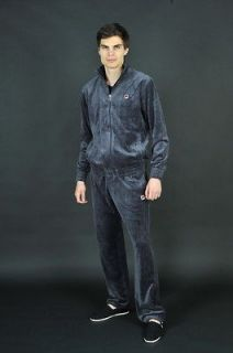 Fila Mens Solid Velour Sweatsuit in Ebony LM121T36 055