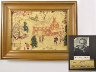 1950s Grandma Moses Framed Barkcloth Print Deep Snow Richards Boston