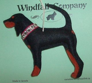 Black and Tan Coonhound Dog Christmas Canine Artist Ornament