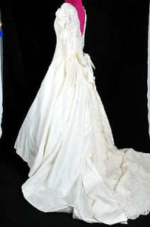 Z80 VTG 40s Chantilly Lace romantic wedding gown dress S XS IVORY