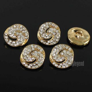 50 X Clear Rhinestone Crystal Gold Shank Buttons Sewing Notions Craft