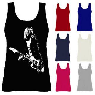 Womens Kurt Cobain Nirvana Grunge Rock Icon Vest Tank Top NEW UK 8 18