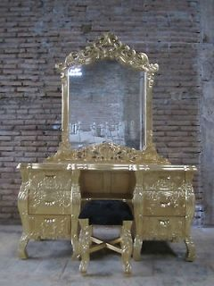 IN STOCK Real Gold Leaf French Rococo dressing table vanity handmade