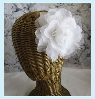 Gray & Silver Silk & Sheer Rose Hair Clip / Brooch