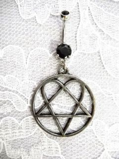 HIM HEARTAGRAM PEWTER PENDANT SS w BLACK CZ BELLY RING