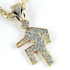 Newly listed Mens Gold Filled Iced Out LMFAO Shuffle 24 Figaro Chain