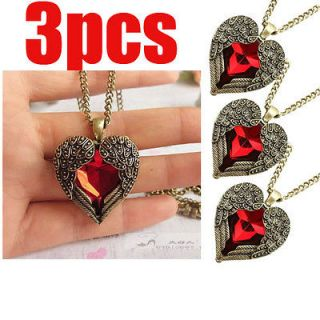 3pcs Wholesale lots Retro Rhinestones Heart necklace Angel wing