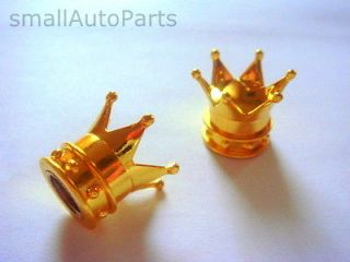 Gold Crown Tire/Wheel stem air VALVE CAPS COVERS for Motorcycle
