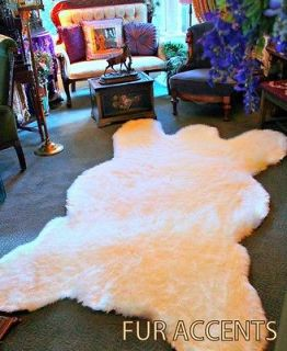 x9 Off White Faux Fur Rug Bear Skin Area Fake Shreepskin cabin Shag
