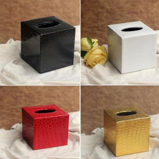 Colorful Square PU Leather Tissue Box Cover Paper Holder Home Decor 12