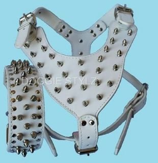 White Leather Dog Harness & Collar SET spike studs Pit bull Rottweiler