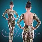Gold Leopard Print Metallic Gothic Punk Catsuit Bodysuit Jumpsuit