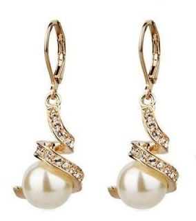18K Rose Gold GP Swarovski Crystal White Pearl earrings C38