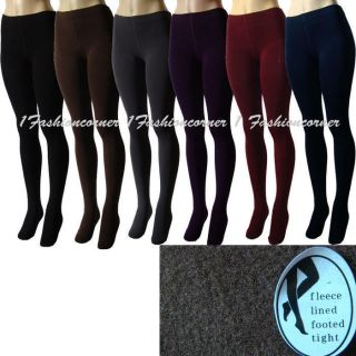 L38 Winter,Seamless,Thick,Fleece Lined Footed Tights L/XL.Black,Brown