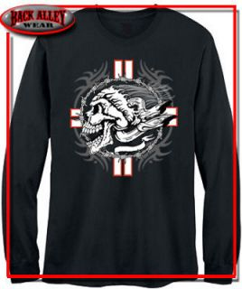 INDIAN HEAD LONG SLEEVE SHIRT BARBED WIRE CROSS M 3XL TATTOO BIKER