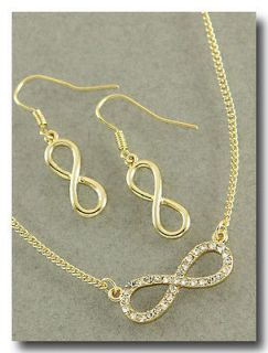 Infinity Jewelry GOLD Infinity Necklace Earring SET GOLD Rhinestone