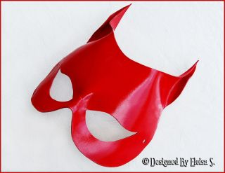 CAT WOMAN RED LEATHER MASK MASQUERADE HALLOWEEN COSTUME
