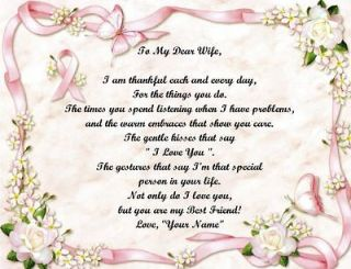 Personalized Poem Breast Cancer Pink Ribbon Wife/Mothers Day/Birthday