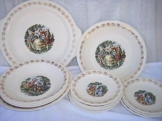 Royal China 22 KT Gold Early American Serving Bowls Dinner Plate