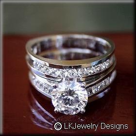 45 cttw Round Moissanite Solitaire Wedding Set Engagement Ring 1 1/2