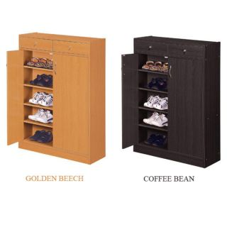 SHOE STORAGE CABINET STAND BIN RACK NEW BEECH OR BROWN COLOR