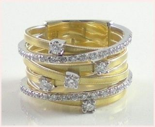 MARCO BICEGO yellow gold 7 row ring Goa brilliants.41 brand new