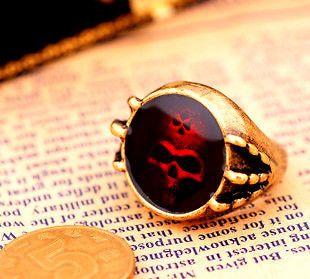 vintage bronze oil spot skull ring biker punk goth gear