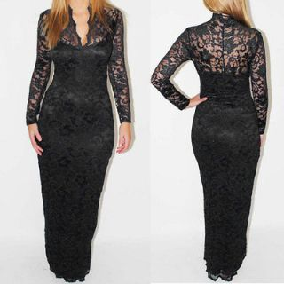 Black Lace Long Sleeve Maxi Dress Scallop Neck Full Length Evening