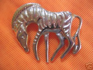 VINTAGE GRAZING ON THE GRASS GOLD TONE ZEBRA PIN/BROOCH