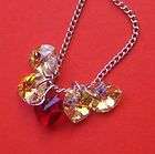 SILVER SWAROVSKI CRYSTAL ELEMENTS HEART RAINBOW CHARM NECKLACE SALE