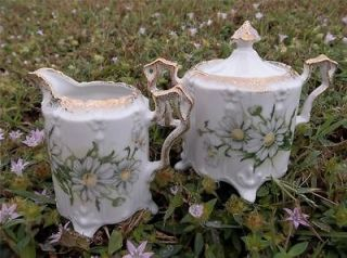 Crown Daisy Bouquet Cream & Sugar Bowl Hand Painted Gold Trim * Xlnt