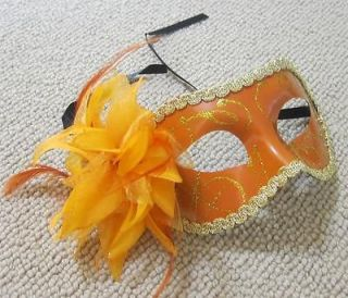 Feather Venetian Costume Cosplay Party Ball Masquerade Gold Mask