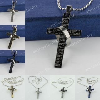 Black Silver Gold Blue Stainless Steel Lords Prayer Cross Ring Mens